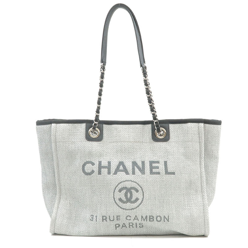 CHANEL-Deauville-MM-Straw-Leather-Chain-Tote-Bag-Gray-A67001