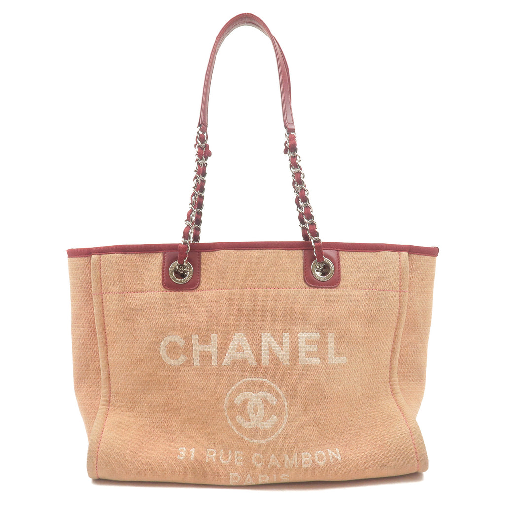 CHANEL-Deauville-MM-Canvas-Leather-Chain-Tote-Bag-Red-A67001