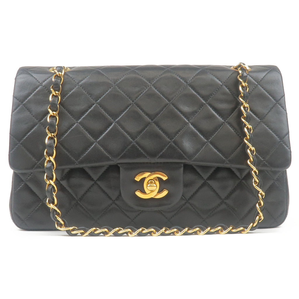 CHANEL-Matelasse-Lamb-Skin-Double-Flap-Chain-Shoulder-Bag