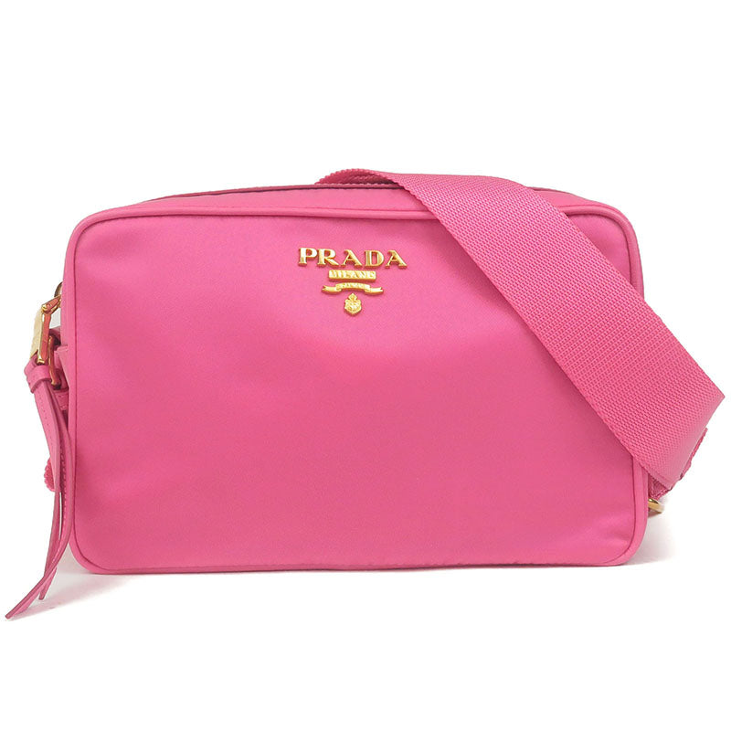 PRADA-Nylon-Leather-Shoulder-Bag-Pouch-FUXIA-Pink-1BH089
