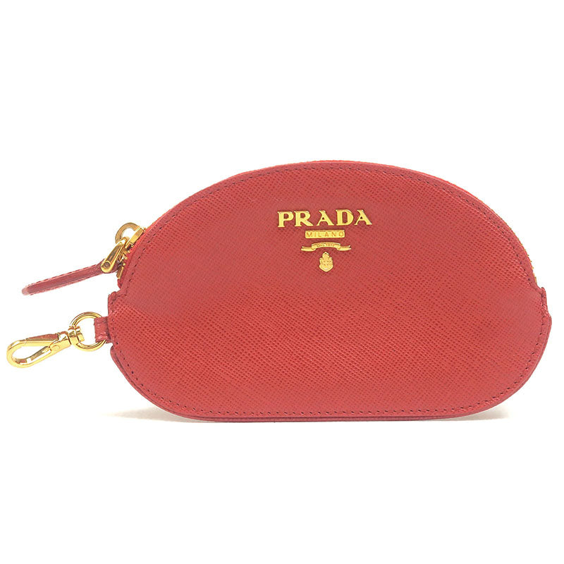 PRADA-Leather-Coin-Case-Key-Case-Small-Wallet-Red