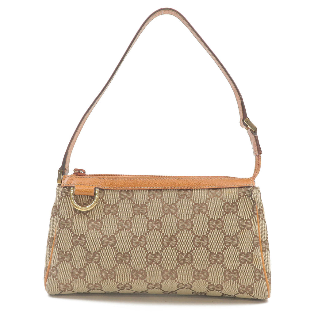 GUCCI-GG-Canvas-Leather-Pouch-Hand-Bag-Beige-Light-Brown-145750