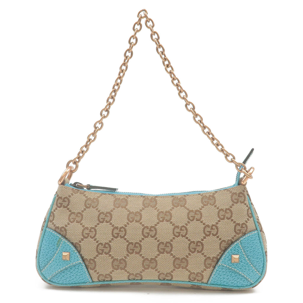 GUCCI-GG-Canvas-Leather-Chain-Hand-Bag-Pouch-Beige-Blue-120940