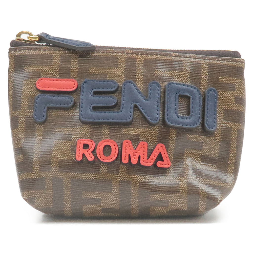 FENDI-FILA-Zucca-PVC-Leather-Pouch-Clutch-Bag-Mini-Bag-7N0097