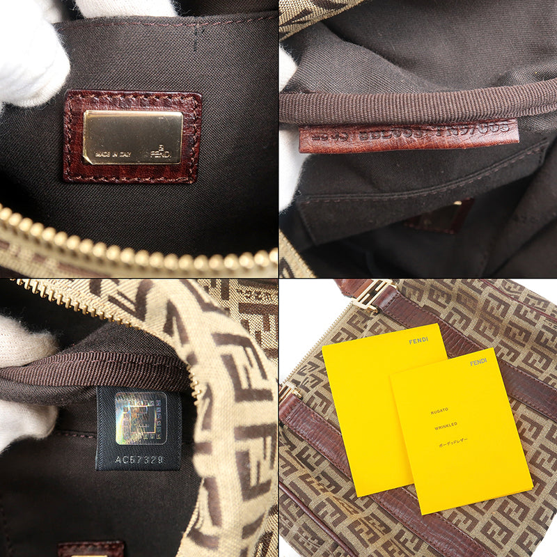 FENDI Zucchino Canvas Leather Mini Boston Hand Bag Brown-dct-ep_vintage luxury Store