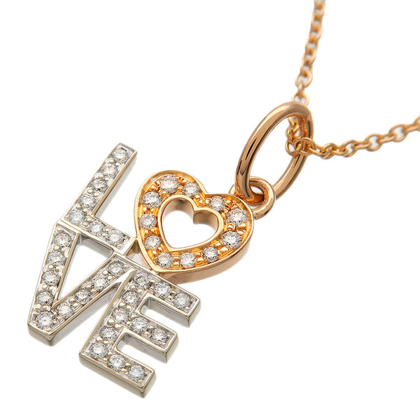 Tiffany&Co. Love Diamond Charm Necklace K18 Rose/White Gold