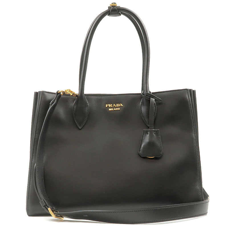 PRADA-Bibliotheque-Calf-Leather-2way-Bag-Tote-Black-1BG098