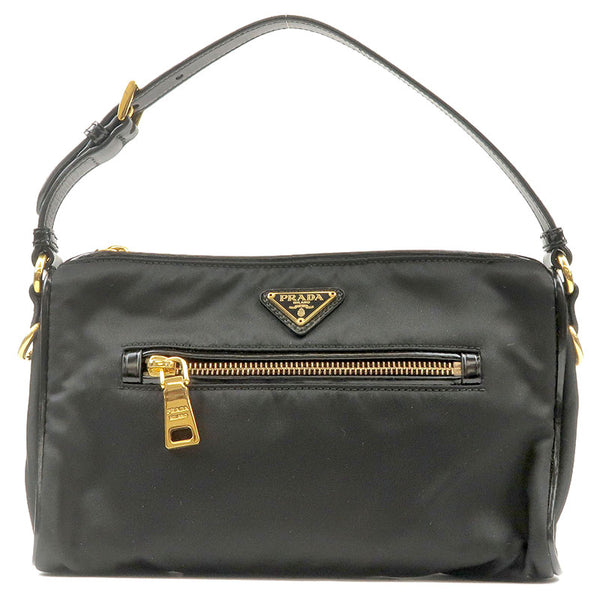 PRADA-Nylon-Leather-Pouch-Purse-Hand-Bag-Black