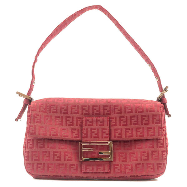 FENDI-Zucchino-Mamma-Baguette-Canvas-Leather-Shoulder-Bag-Red