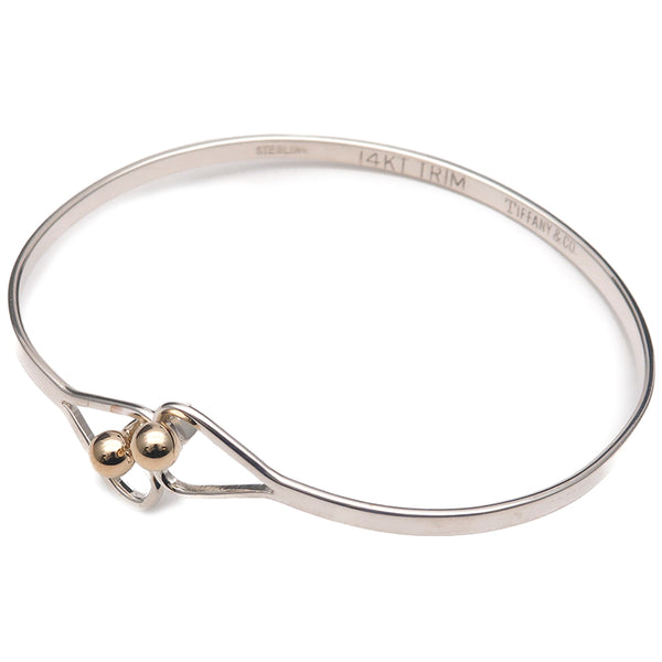 Tiffany&Co. Hook and Eye Heart Bangle Silver 925 Yellow Gold-dct-ep_vintage luxury Store