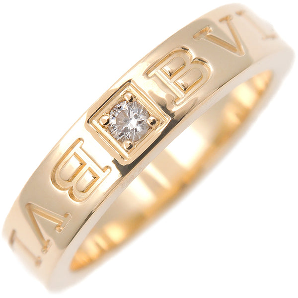 BVLGARI Double Logo Ring 1P Diamond K18 Yellow Gold US5.5 EU51