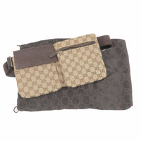 GUCCI GG Canvas Leather Waist Bag Waist Pouch Brown 28566-dct-ep_vintage luxury Store