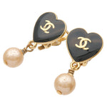 CHANEL Coco Mark Imitation Pearl Earrings Gold Black 04A