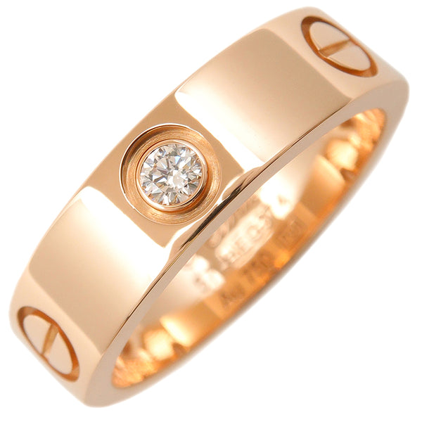 Cartier Love Ring 3P Half Diamond Rose Gold #57 US8 EU57.5