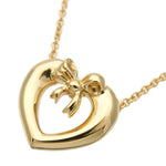 Tiffany&Co. Heart Ribbon Necklace K18 750 Yellow Gold