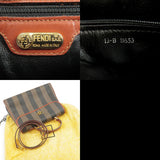 FENDI Pequin PVC Leather 2way Bag Hand Bag Khaki Black Brown