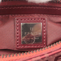 FENDI Zucchino Canvas Leather Pouch Hand Bag Red 8BR041