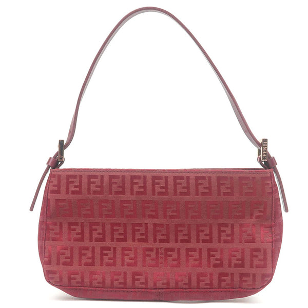 FENDI-Zucchino-Canvas-Leather-Pouch-Hand-Bag-Red-8BR041