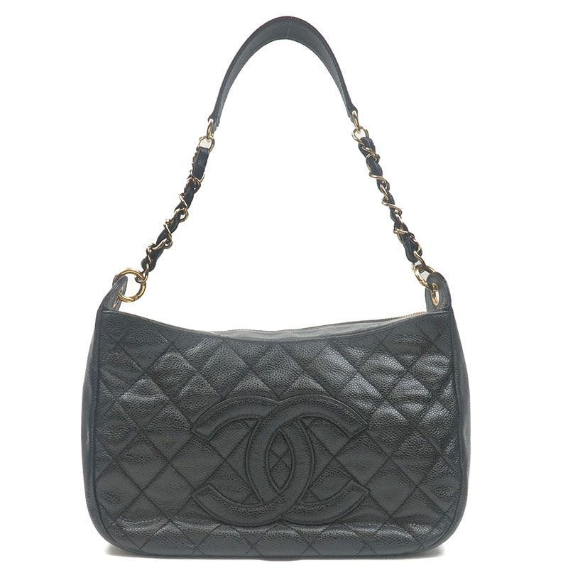 CHANEL-Matelasse-Caviar-Skin-Chain-Shoulder-Bag-Black-Gold