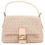 FENDI-Zucchino-Mamma-Baguette-Canvas-Shoulder-Bag-Pink-Beige