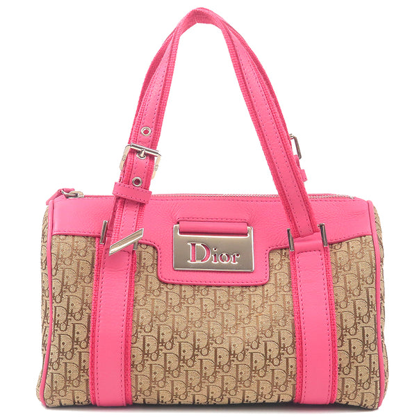 Christian Dior Trotter Canvas Leather Hand Bag Beige Pink