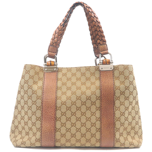 GUCCI Bamboo Bar GG Canvas Leather Tote Bag Brown 232947-dct-ep_vintage luxury Store
