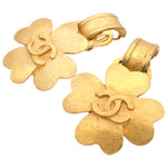 CHANEL Coco Mark Clover Vintage Earrings 95P Gold