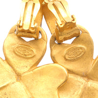 CHANEL Coco Mark Clover Vintage Earrings 95P Gold-dct-ep_vintage luxury Store