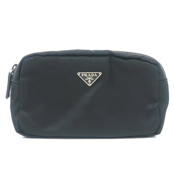 Authentic PRADA Nylon Leather Pouch Clutch Black MV21