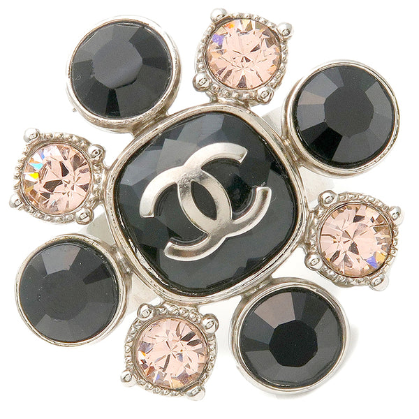 CHANEL Coco Mark  Rhinestone Ring Silver Black Pink 08C US6.5-7