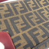 FENDI Zucca Print Canvas Leather Shoulder Bag Khaki 8BR207