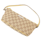 GUCCI GG Canvas Leather Hand Bag Purse Beige Yellow 07198
