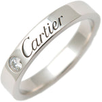 Cartier-Engraved-1P-Diamond-Ring-950-Platinum-#48-US4.5-5