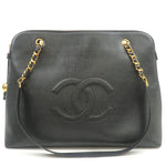 CHANEL-Caviar-Skin-Chain-Tote-Bag-Black
