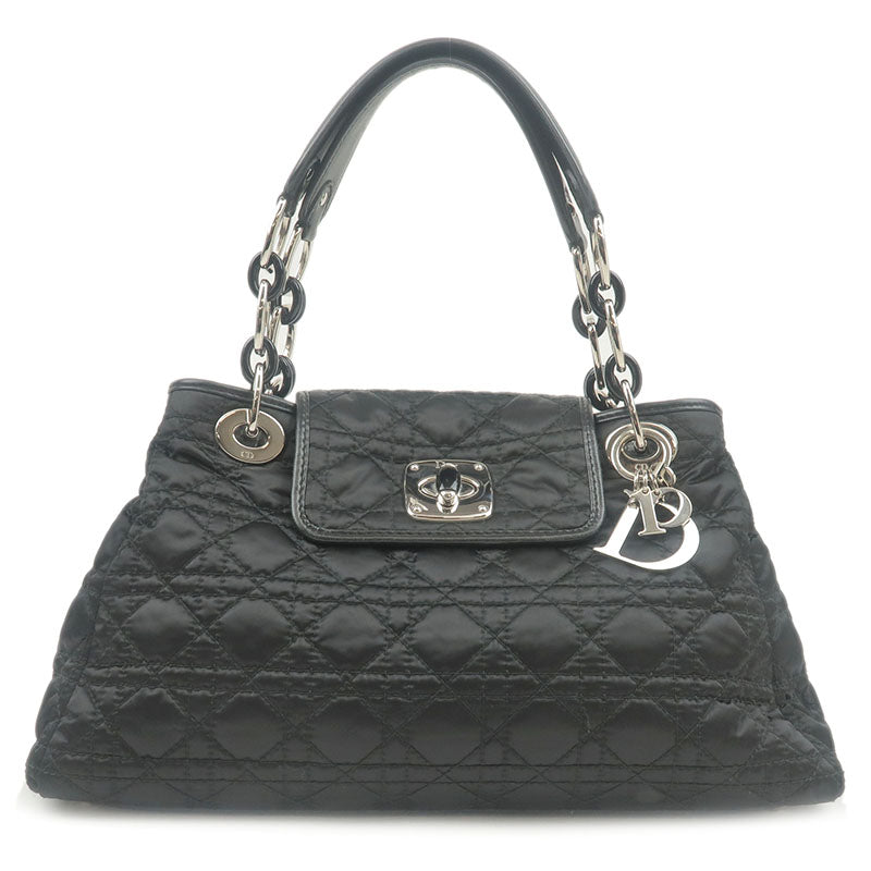Christian-Dior-Cannage-Nylon-Leather-Chain-Hand-Bag-Black