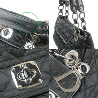 Christian Dior Cannage Nylon Leather Chain Hand Bag Black
