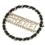 CHANEL Leather Chain Charm Logo Brooch Black Champagne Gold B18K
