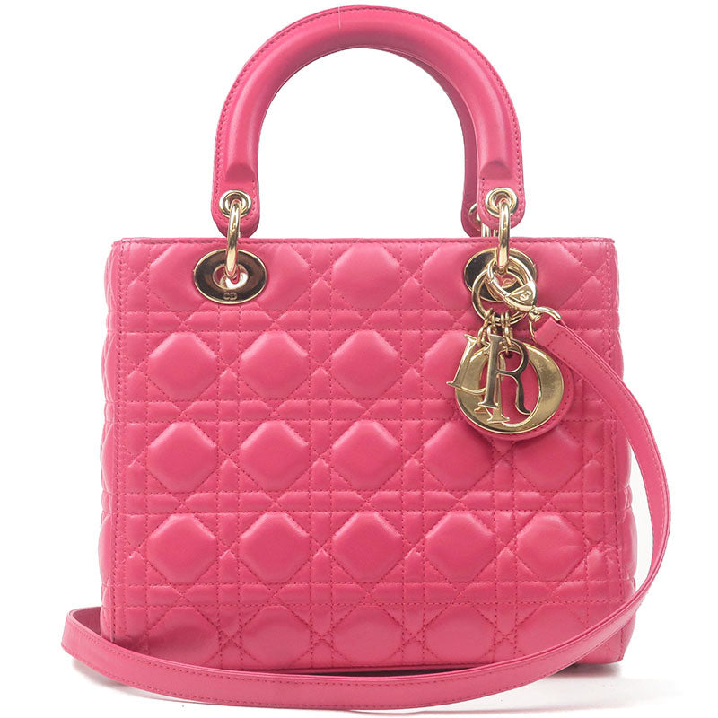 Christian-Dior-Cannage-Lamb-Skin-Lady-Dior-2Way-Bag-Pink