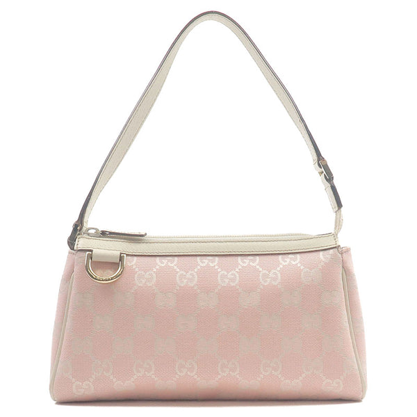 GUCCI-GG-Canvas-Leather-Hand-Bag-Pouch-Pink-White-145750-----------