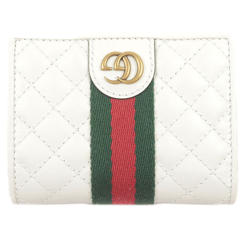 GUCCI-GG-Marmont-Webbing-Line-Quilting-Leather-Wallet-536453
