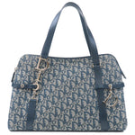 Christian Dior Trotter Canvas Leather Tote Bag Navy