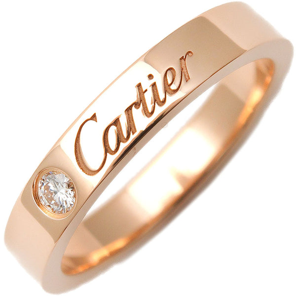 Cartier-Engraved-1P-Diamond-Ring-K18-Rose-Gold-#48-US4.5-EU48