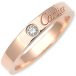 Cartier-Engraved-1P-Diamond-Ring-K18-Rose-Gold-#52-US6-EU52
