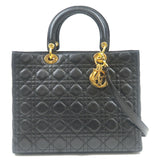 Christian-Dior-Cannage-Lady-Leather-2Way-Bag-Shoulder-Bag