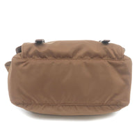 PRADA Nylon Leather Shoulder Bag Brown