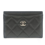 CHANEL-Matelasse-Lamb-Skin-Card-Case-Black-Silver-A31510