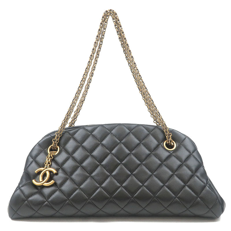 CHANEL-Mademoiselle-Lamb-Skin-Matelasse-Chain-Shoulder-Bag-A49854