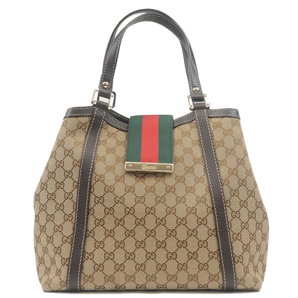 GUCCI-Sherry-Line-GG-Canvas-Leather-Tote-Bag-Beige-Brown-364835