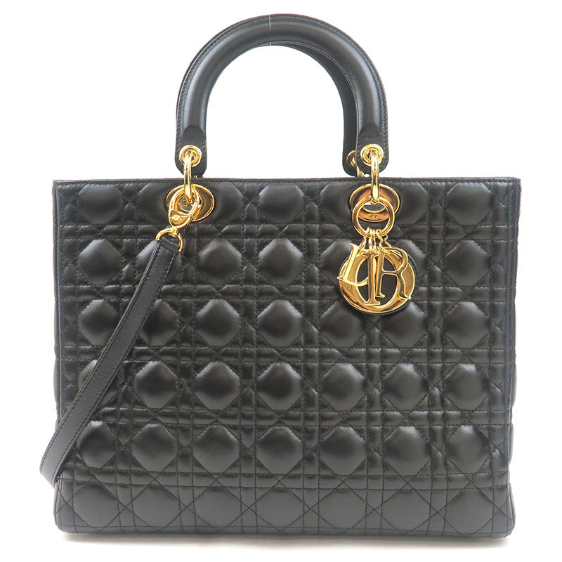 Christian-Dior-Cannage-Lady-Dior-Large-Leather-Hand-Bag-Black