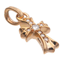 Chrome Hearts Baby Fat Cross Charm Pave Diamond Gold 22K